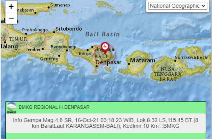 Gempabumi Tektonik M=4,8 Guncang Bali dan Lombok